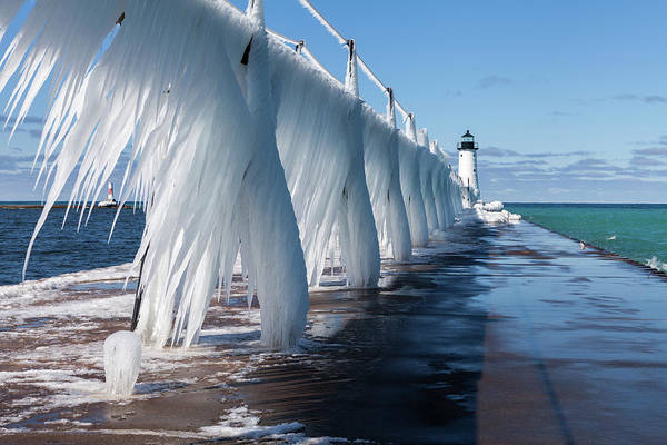 Photograph - Ice On Manistee Pierhead Light by Fran Riley