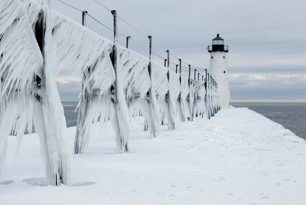 Photograph - Ice On Manistee Pierhead Lighthouse-2 by Fran Riley