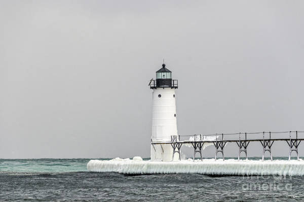 Photograph - Ice On The Pier At Manistee Light by Sue Smith