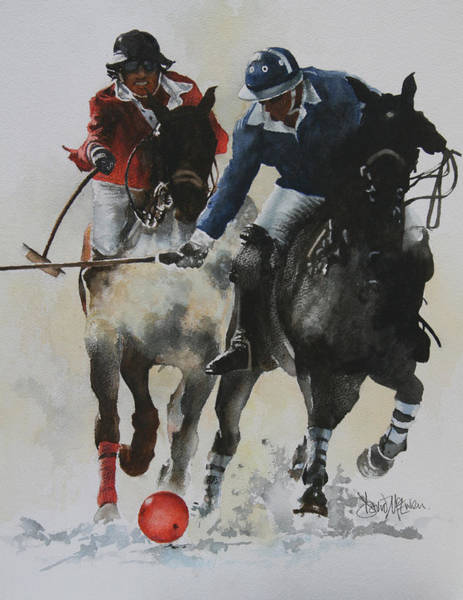 Polo Wall Art - Painting - Ice Polo 1 by David McEwen