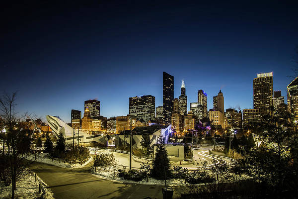 Photograph - ice ribbon and Chicago Skyline by Sven Brogren