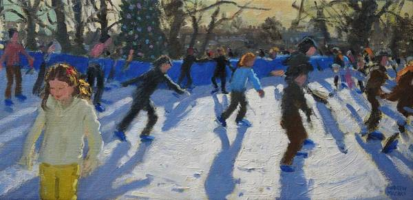Happy Little Trees Painting - Ice Skaters At Christmas Fayre In Hyde Park  London by Andrew Macara