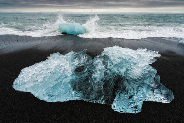 Photograph - Iceberg And Black Beach In Iceland by Matthias Hauser