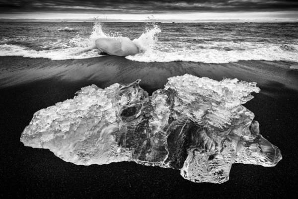 Photograph - Iceberg In Iceland Black And White by Matthias Hauser