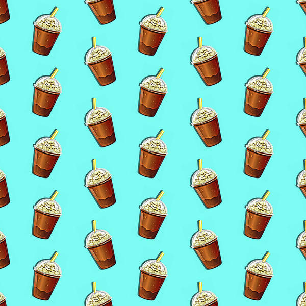 Coffee Painting - Iced Coffee To Go Pattern by Little Bunny Sunshine