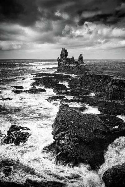 Photograph - Iceland Coast Malarrif Black And White by Matthias Hauser