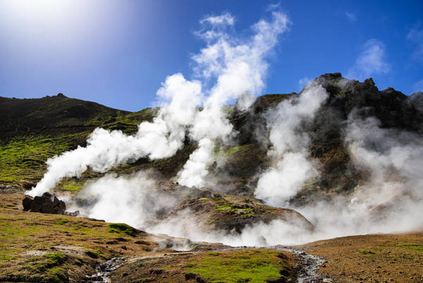 Photograph - Iceland Geothermal Area With Steam From Hot Springs by Matthias Hauser