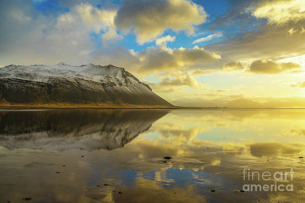Wall Art - Photograph - Iceland Golden Cloudscape And Snow Dusted Peaks by Mike Reid