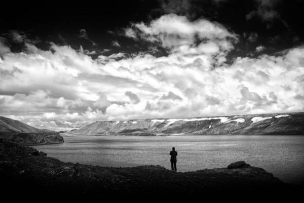 Photograph - Iceland Lake Kleifarvatn Black And White by Matthias Hauser
