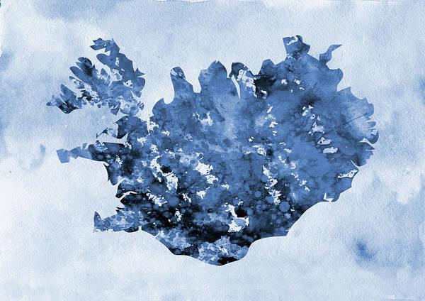 Iceland Digital Art - Map Of Iceland-blue by Erzebet S