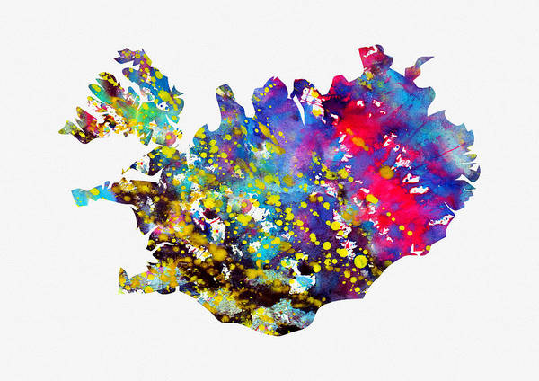 Iceland Digital Art - Map Of Iceland-colorful by Erzebet S