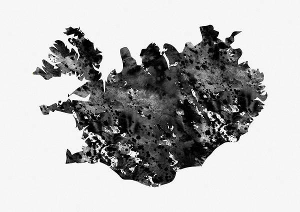 Iceland Digital Art - Map Of Iceland-black by Erzebet S
