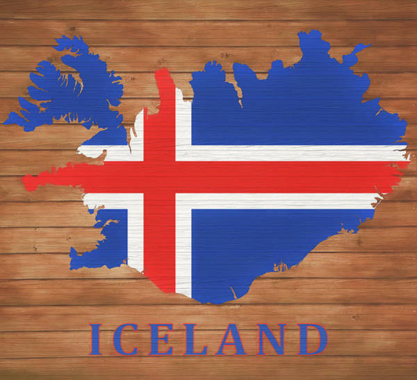 Wall Art - Mixed Media - Iceland Rustic Map On Wood by Dan Sproul