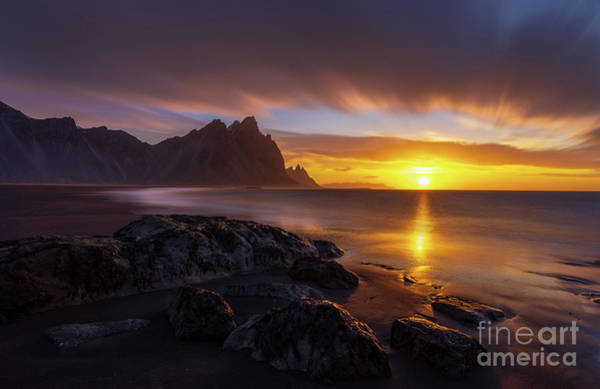 Wall Art - Photograph - Iceland Stokksnes Dramatic Sunrise Landscape by Mike Reid