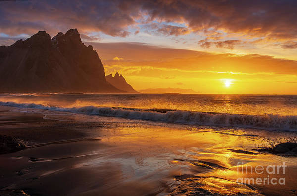 Wall Art - Photograph - Iceland Stokksnes Sunrise Waves by Mike Reid