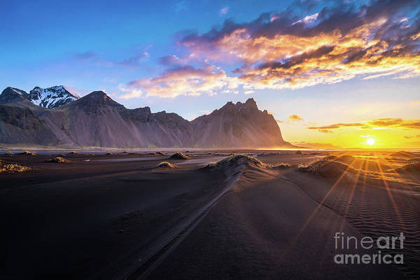 Wall Art - Photograph - Iceland Sunrise Beach Sunrays by Mike Reid