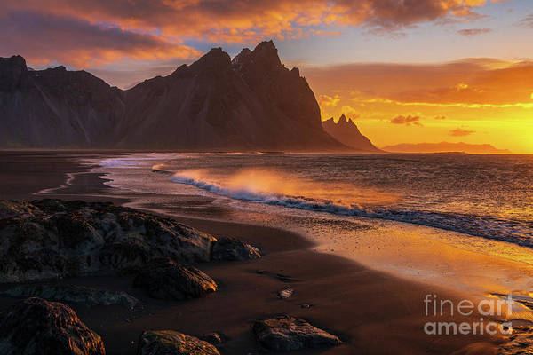 Wall Art - Photograph - Iceland Sunrise Beach Wavespray by Mike Reid