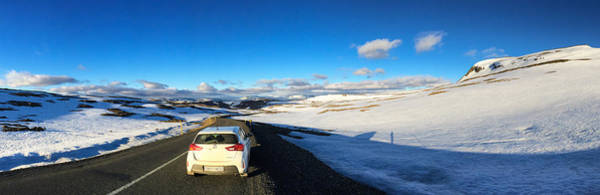 Car Photograph - Iceland Travel - Snow Covered Mountain Pass In June by Matthias Hauser