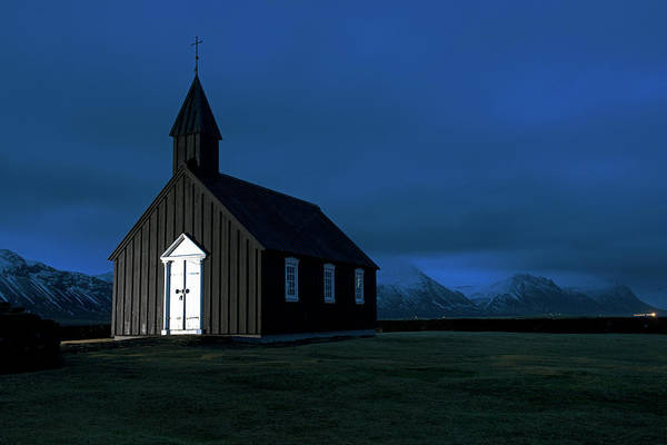 Photograph - The Black Church Of Iceland At Night by Dubi Roman