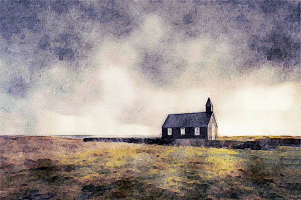 Mixed Media - Icelandic Church In Watercolor by Susan Maxwell Schmidt