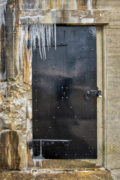 Photograph - Icicles And Textures At The Bunker Door by Gary Slawsky