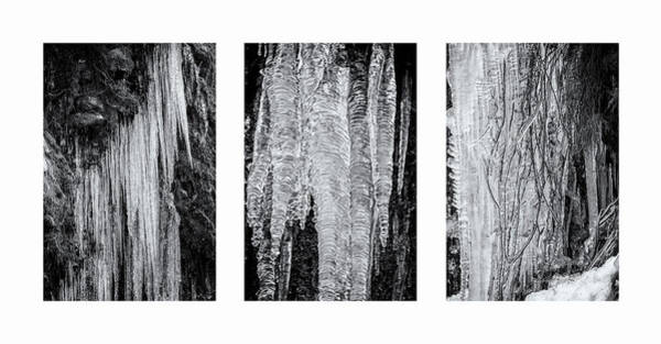Photograph - Icicles Triptych W by Belinda Greb