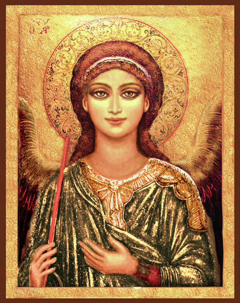 Wall Art - Mixed Media - Icon Archangel In Gold by Ananda Vdovic