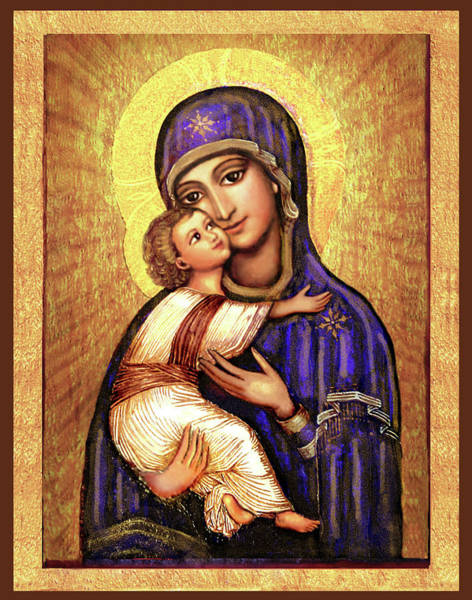 Wall Art - Mixed Media - Icon Madonna And Infant Jesus by Ananda Vdovic