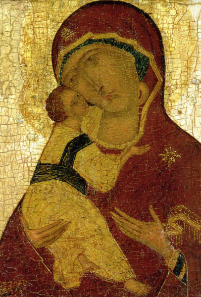 Embrace Painting - Icon Of The Virgin Of Vladimir by Moscow School