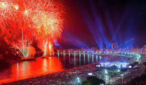 Iconic And Breath-taking Fireworks Display On Copacabana Beach,  Art Print