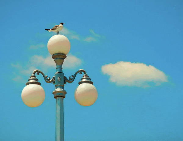 Photograph - Iconic Avon By The Sea Lampost With Seagul by Gary Slawsky