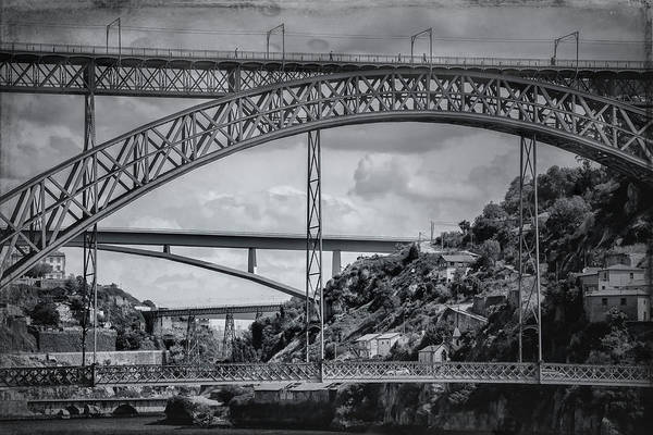 Douro Wall Art - Photograph - Iconic Bridges Of Porto In Black And White  by Carol Japp