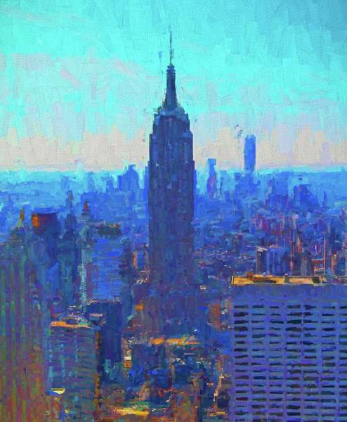 Manhattan Skyline Painting - Iconic Empire State Building by Dan Sproul