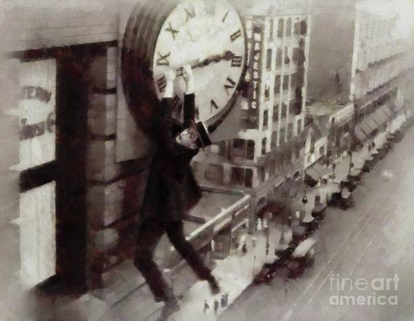 Clock Face Painting - Iconic Movie Moments - Harold Lloyd by Mary Bassett