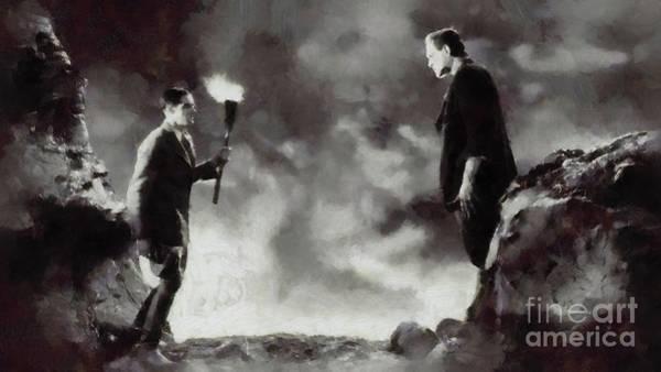 Frankenstein Painting - Iconic Movie Scenes - Frankenstein by Mary Bassett
