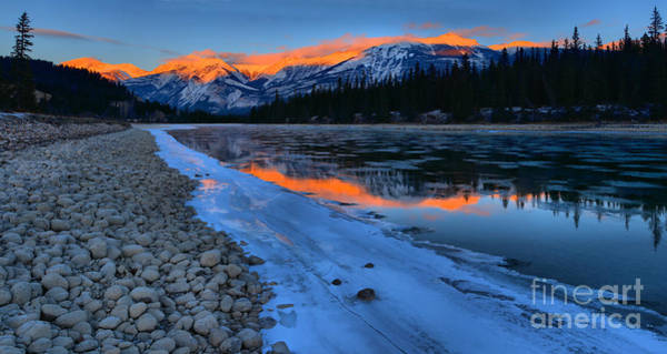 Photograph - Icy Athabsca River Sunset Reflections Panorama by Adam Jewell