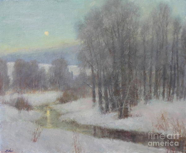 Full Moon Painting - Icy Evening by Lori McNee