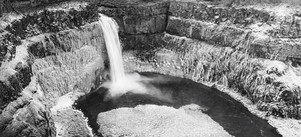 Photograph - Icy Palouse Falls Panorama - Black And White by Mark Kiver