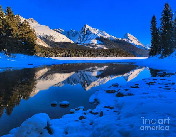 Montain Photograph - Icy Reflections At Maligne by Adam Jewell
