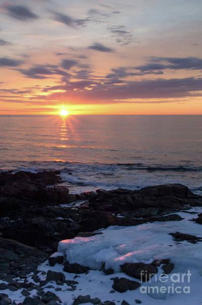 Photograph - Icy Shoreline At Sunrise, Ogunquit, Maine  -31127 by John Bald