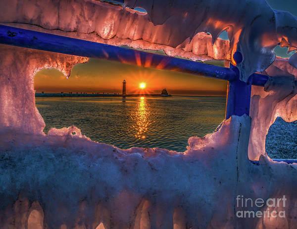 Photograph - Icy Sunset At Grand Haven by Nick Zelinsky