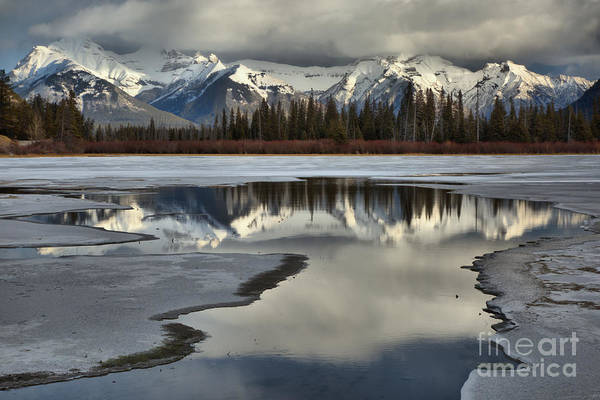 Photograph - Icy Vermilion Lakes Reflections by Adam Jewell