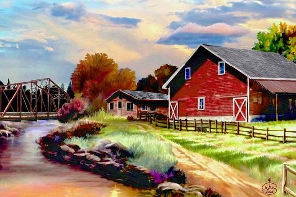 Red Wagon Painting - Idaho Homestead by Ron Chambers