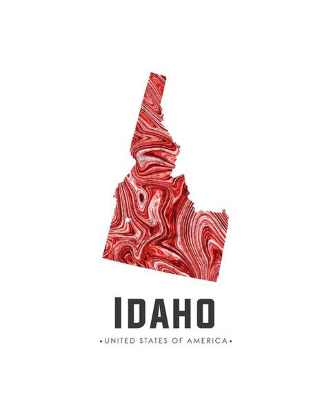 Best Selling Mixed Media - Idaho Map Art Abstract In Red by Studio Grafiikka