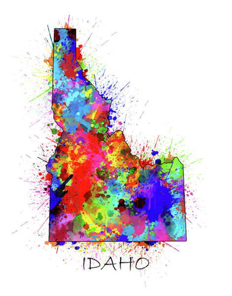 Wall Art - Digital Art - Idaho Map Color Splatter by Bekim M