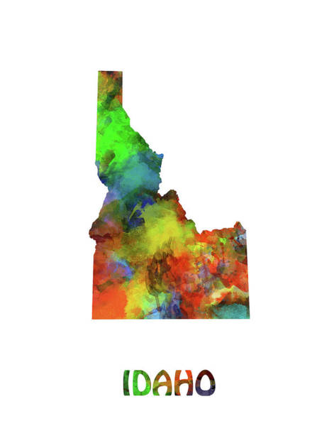Wall Art - Digital Art - Idaho Map Watercolor by Bekim M