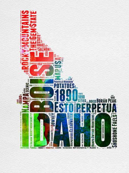 Map Art Mixed Media - Idaho Watercolor Word Cloud  by Naxart Studio