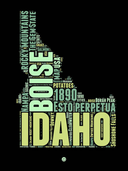 Map Art Mixed Media - Idaho Word Cloud 1 by Naxart Studio