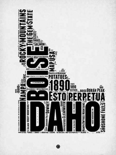 Map Art Mixed Media - Idaho Word Cloud 2 by Naxart Studio