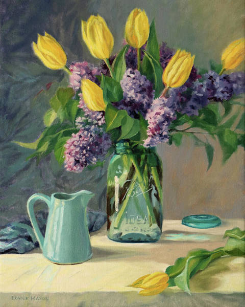 Wall Art - Painting - Ideal - Yellow Tulips And Lilacs In A Blue Mason Jar by Bonnie Mason